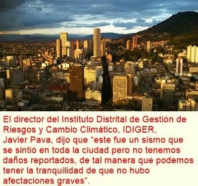 BOGOTÁ: Temblor no deja personas heridas en Bogotá: alcalde Petro