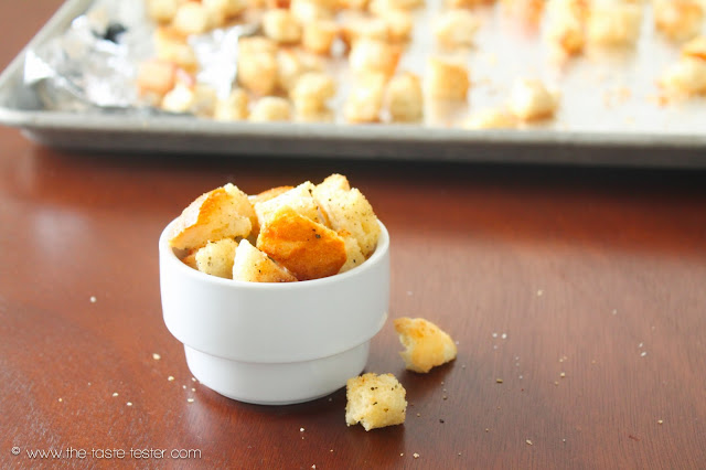 Brown Butter Croutons www.the-taste-tester.com #recipe