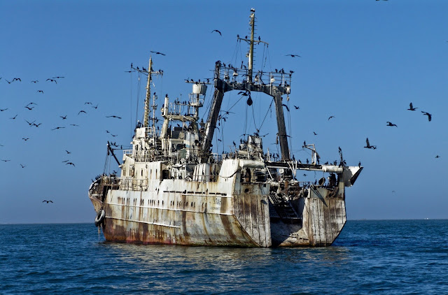 Ghost ship off Walvis Bay, Atlantic Coast of Namibia