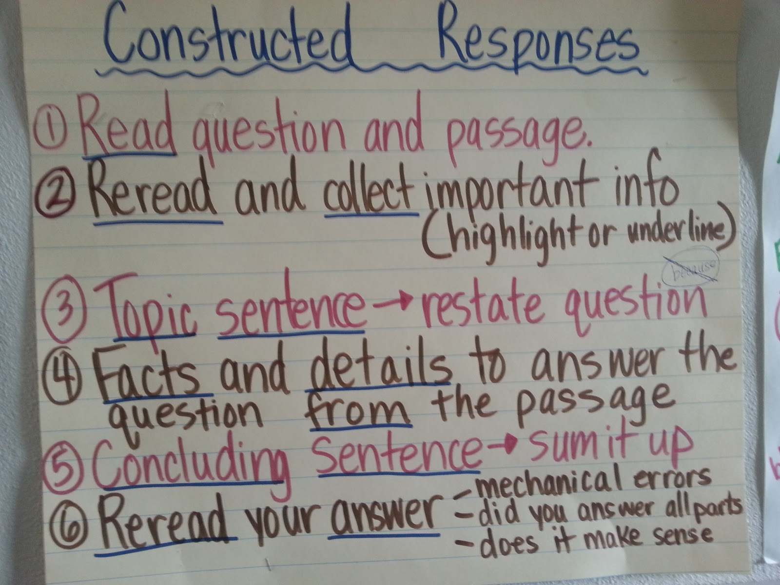 How to write a constructed response in math