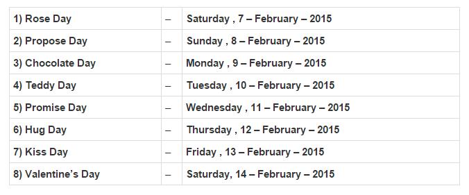 Valentine Week List 2016