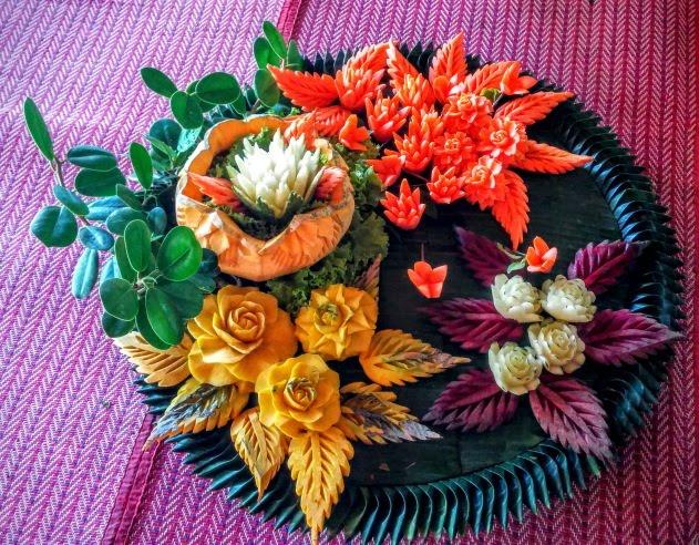 Vegetable cutting - an art form at Sampran Riverside, Thailand