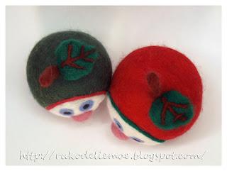 новогодние игрушки из фетра, весёлые яблочки