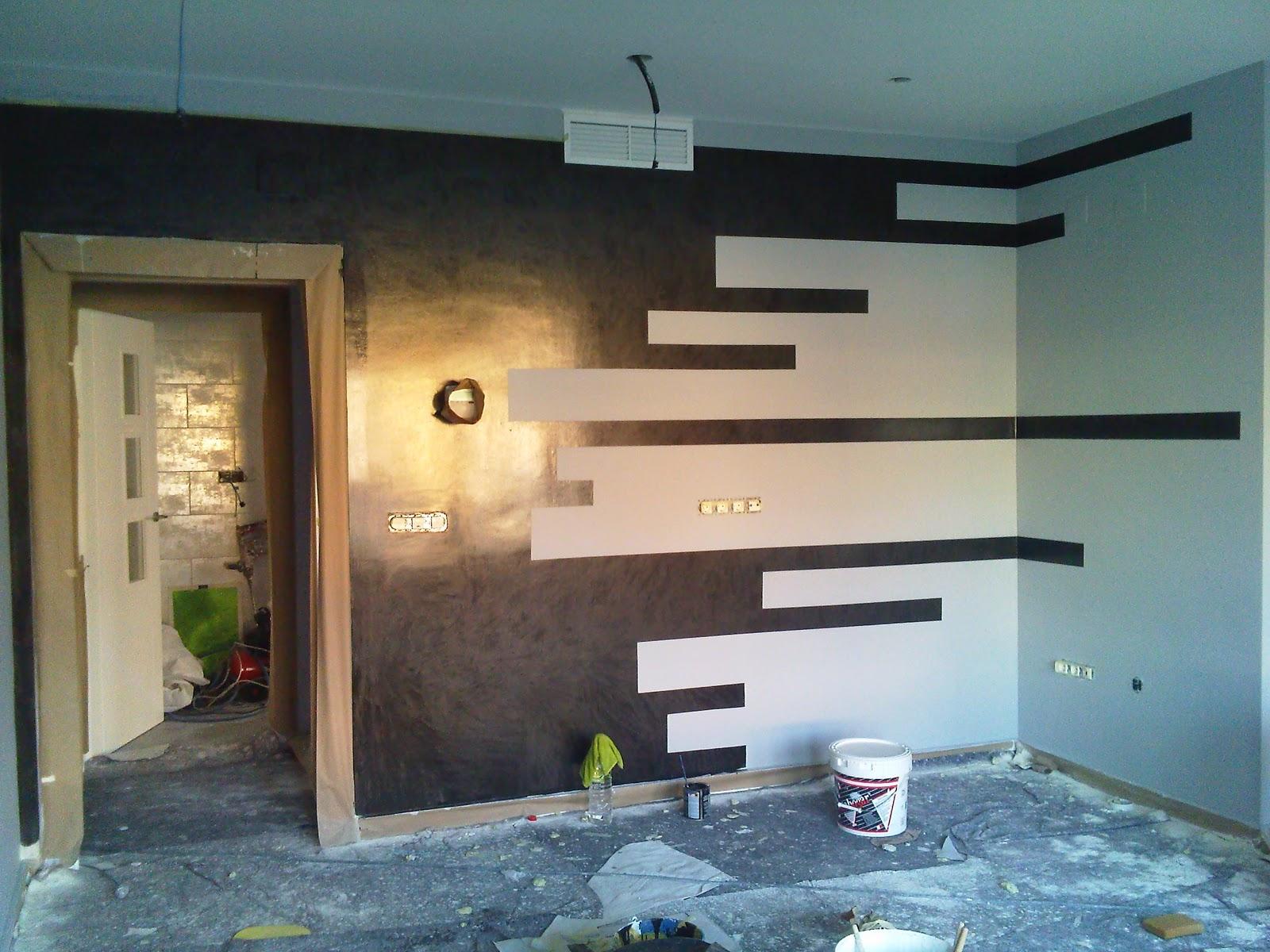 Decoracion en estado puro paredes con formas - Paredes pintadas a cuadros ...