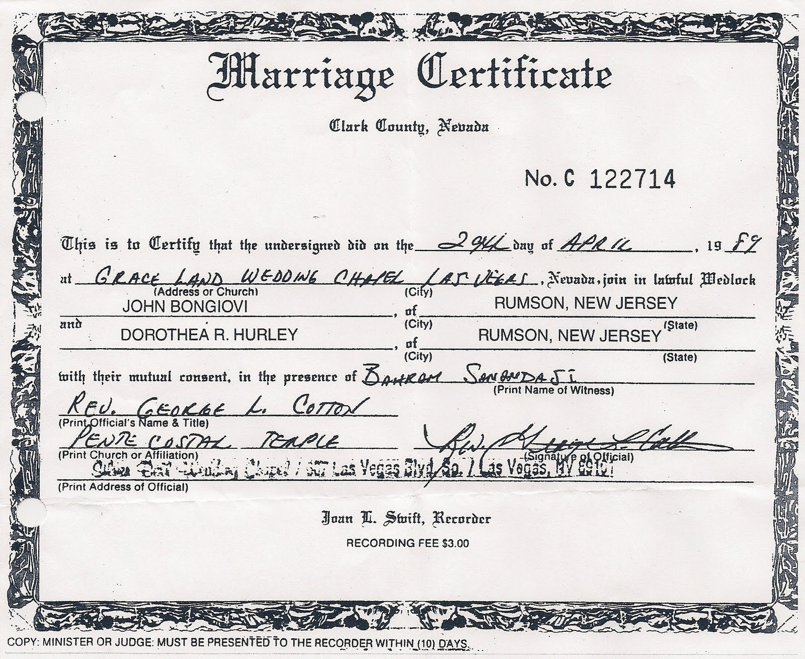 Awesome collection of clark county marriage certificate business jovi bits viva las vegas bon jovi style aiddatafo Images