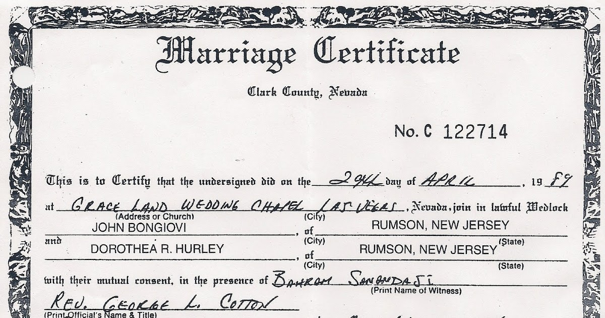 Clark County Nevada Marriage Certificate Free Professional Resume