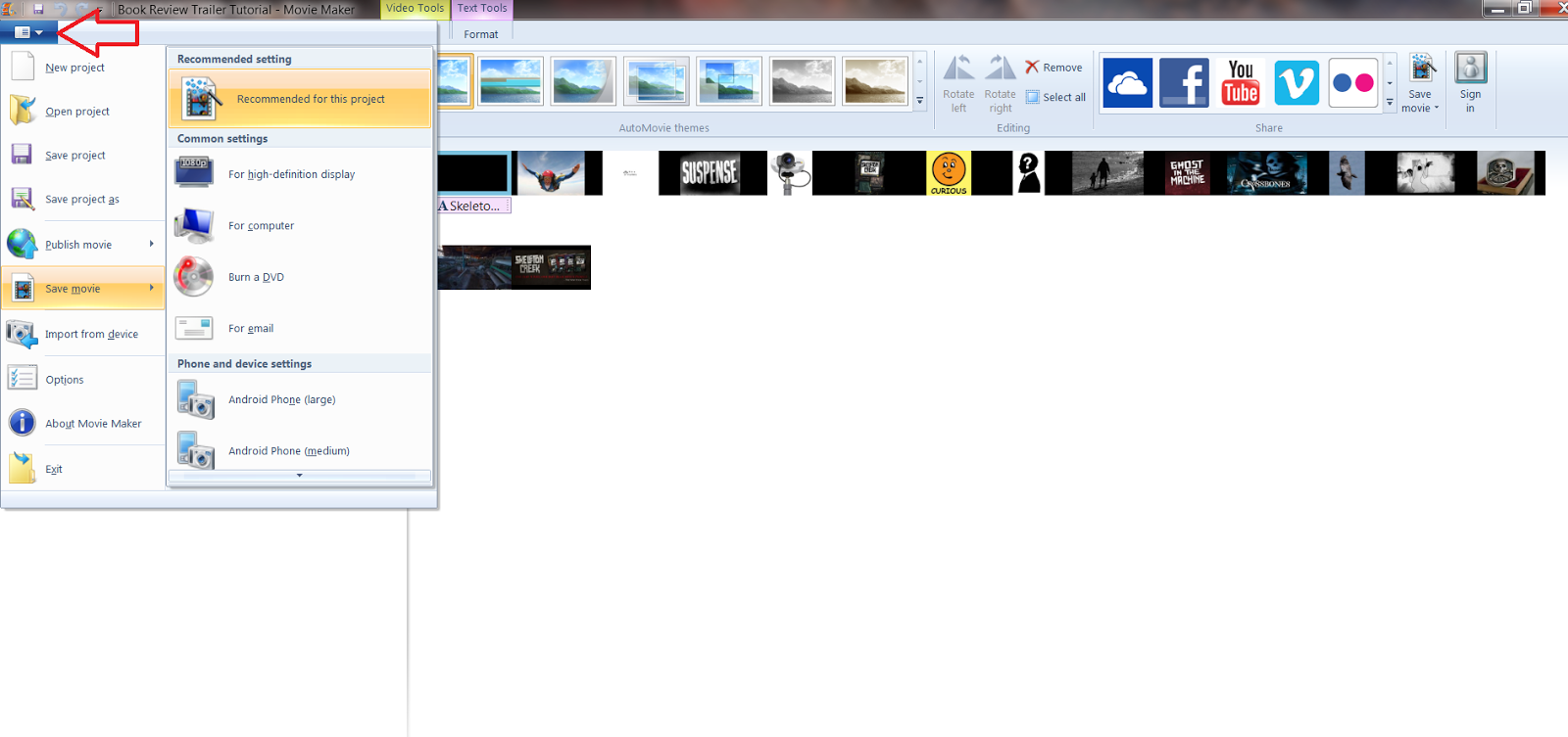 how to save movie in windows live movie maker for book review trailer