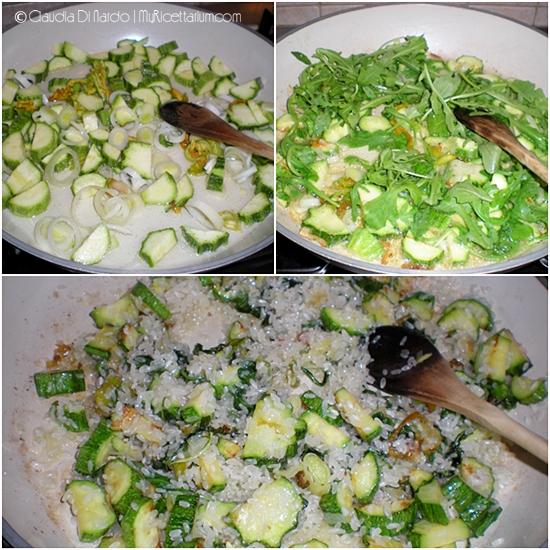 Risotto con zucchine e rucola