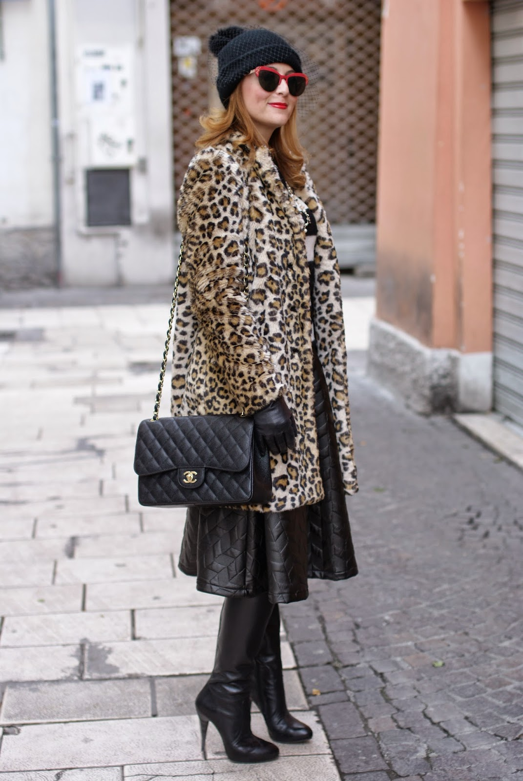 Zara leopard print faux fur coat with veiled beanie hat and Chanel 2.55 classic flap bag on Fashion and Cookies fashion blogger