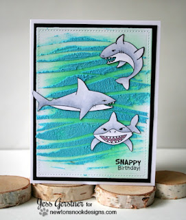 Snappy Birthday Shark Card by Jess Crafts featuring Newton's Nook Shark Bites stamp set