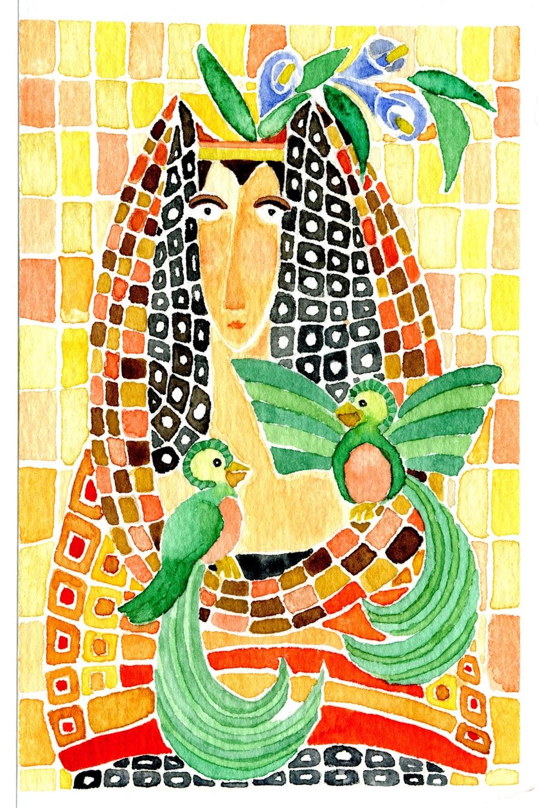 La Antigua I es una acuarela realizada durante una visita a la antigua capital de Guatemala. Representa la ciudad adornada con dos quetzales, ave símbolo de la República de Guatemala. Mientras mi querido compañero de aventuras visitaba el volcán Pacaya, actualmente en activo, yo aproveché para descansar unas horas tomando té en un precioso café (como todos los de esta ciudad). Una experiencia memorable que dio como fruto un par de acuarelas llenas de color.