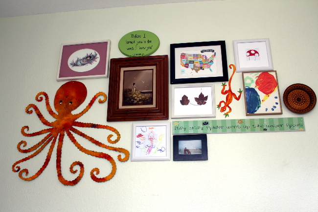 Mismatched frame gallery wall