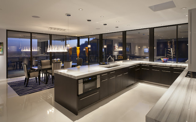 Modern kitchen and dining room in the Martin Home by Spry Architecture