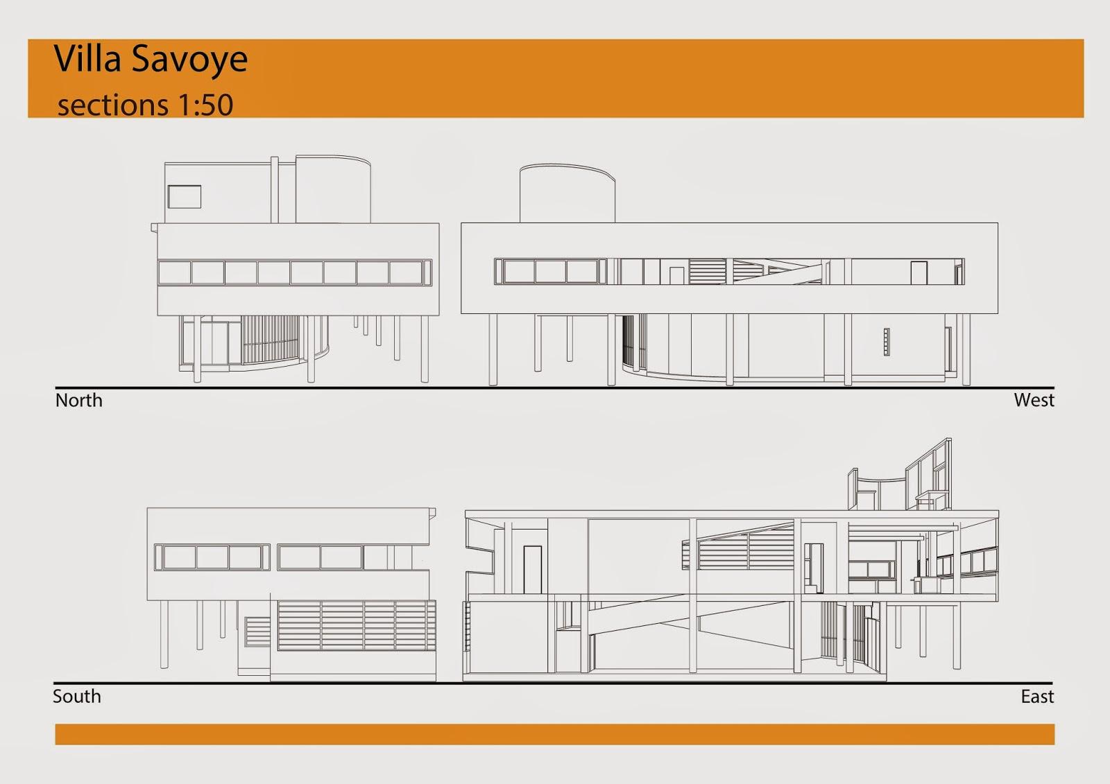 Villa Elevation Plan : Villa savoye plans and sections