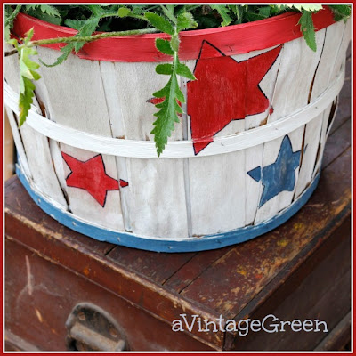 chalk paint red, white and blue apple basket