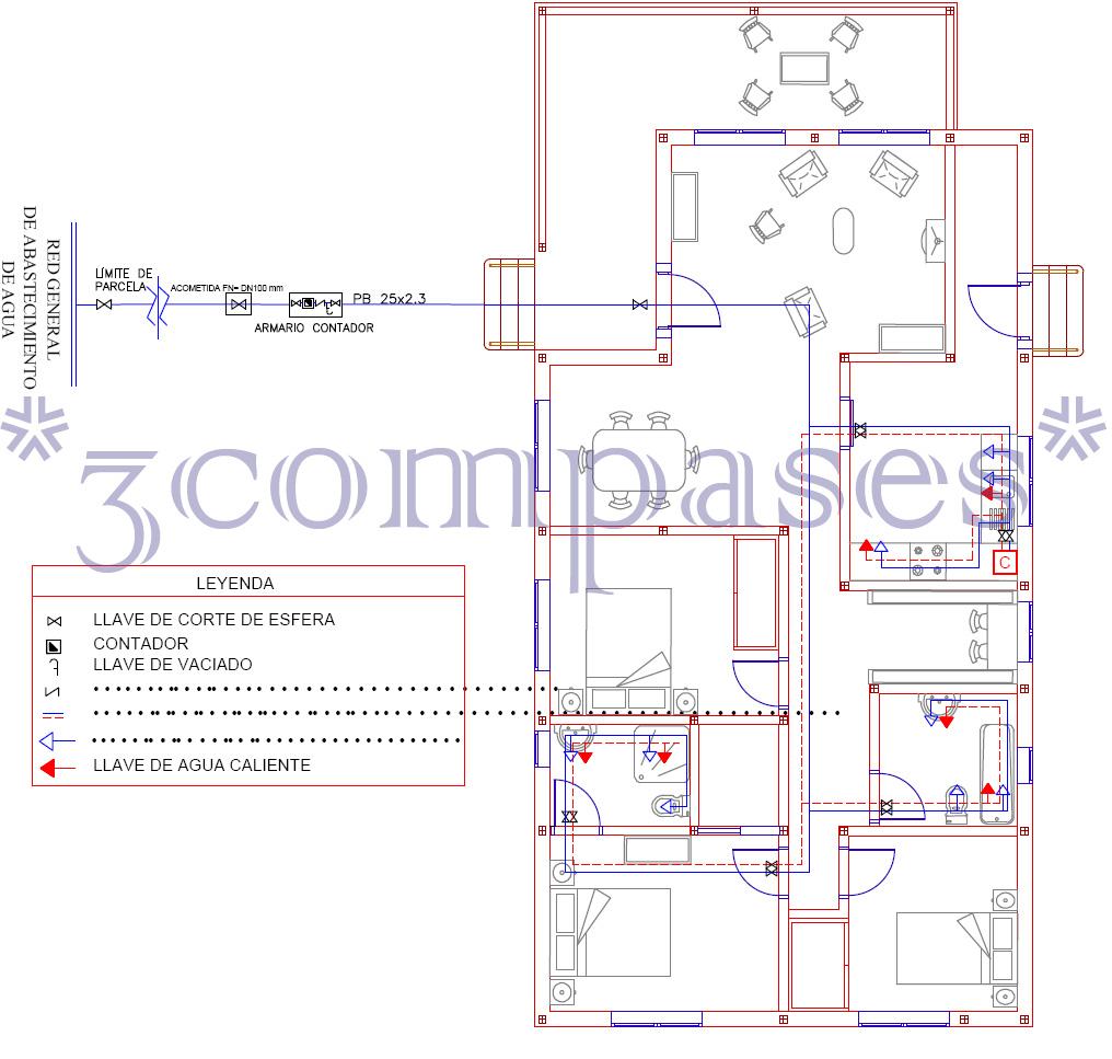 3compases planos de arquitectura de una vivienda for Planos de arquitectura