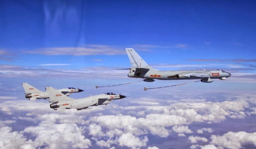 J-10 A Fighter Jets Refueling from PLAAF's H-6U Badger Aerial Refueling Tanker | Chinese ...