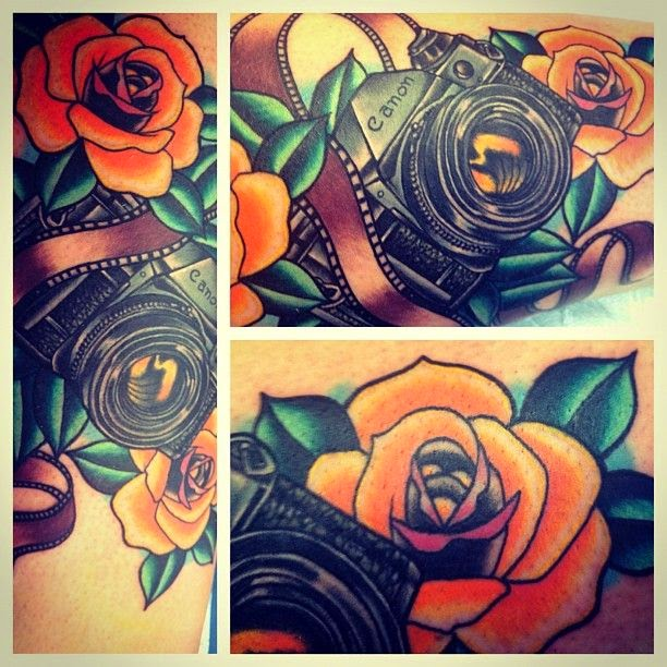 ♥ ♫ ♥ Roses and camera... could possibly incorporate it with the lily and horseshoe tattoo i want to get... half sleeve here i come!!! ♥ ♫ ♥
