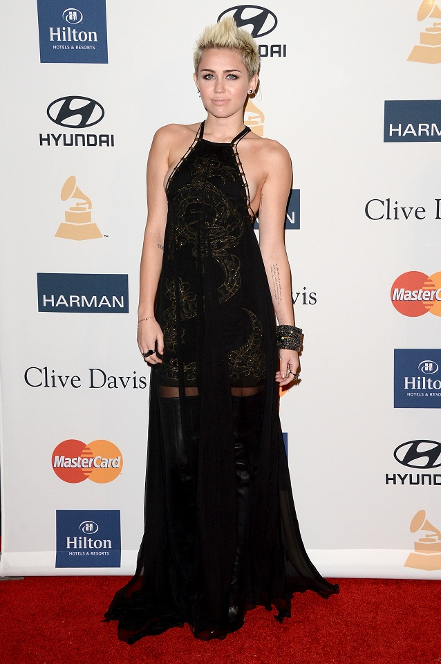 Miley Cyrus wears a daring Emilio Pucci gown at the Clive Davis  amp  The    Miley Cyrus Grammys 2013