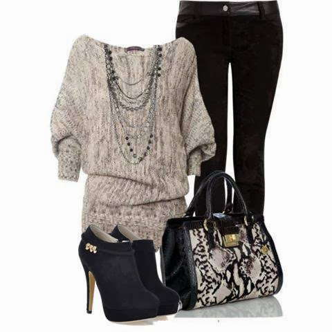 Light grey sweater, black pants, handbag and high heel sandals for fall