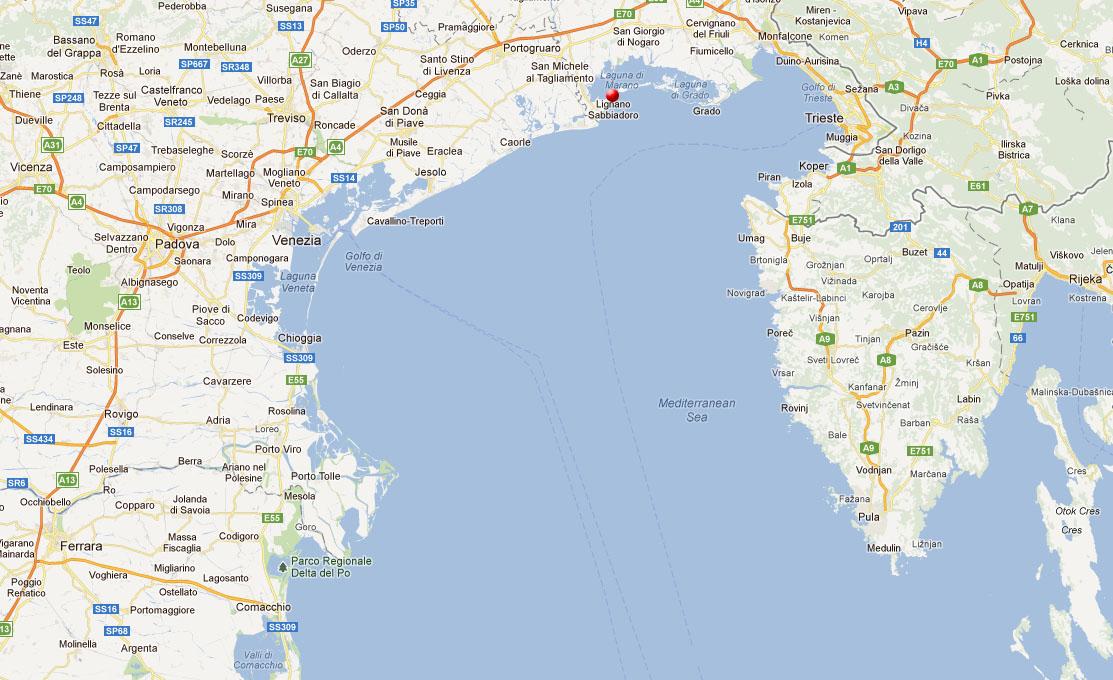 mapa benátska riviéra Lignano