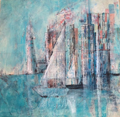 painting, sailboat, sailing, boat, blue, Sandra England, art