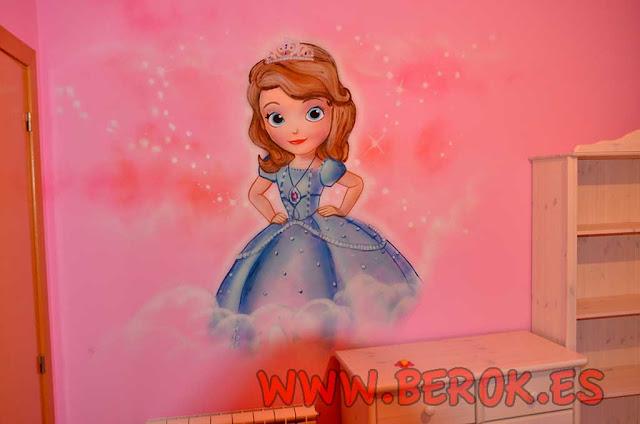 Graffiti Frozen princesa Sofía para habitación de niña
