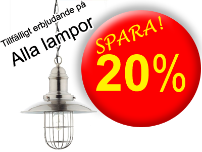Rea på alla lampor - 20%, klicka för att komma till webshopen...