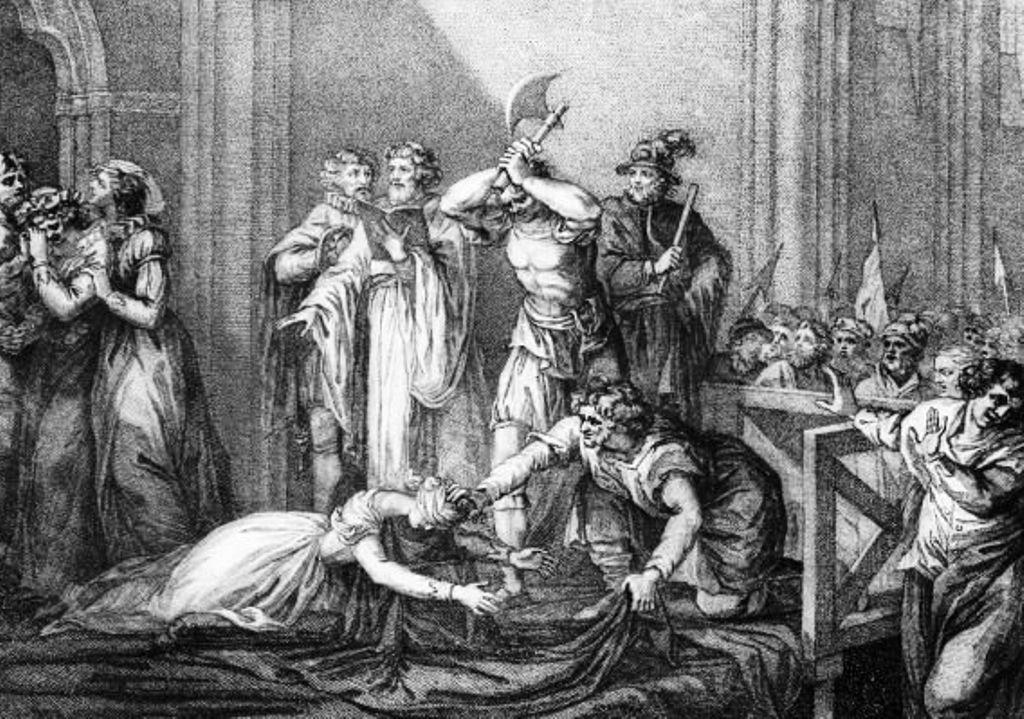 ŒUVRES CHRÉTIENNES DES FAMILLES ROYALES DE FRANCE - (Images et Musique)- année 1870  The_execution_of_Mary_Queen_of_Scots_%28engraving%29