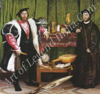 "The Great Artist Hans Holbein Painting ""The Ambassadors"" 1533 8½"" x 82½"" National Gallery, London"