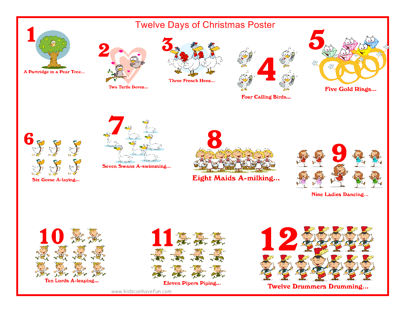 12 Days Of Christmas Song Lyrics | New Calendar Template Site