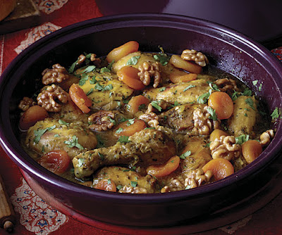 Sweet Chicken Tagine with Apricots and Caramelized Walnuts Sweet Chicken Tagine with Apricots and Caramelized Walnuts Recipe