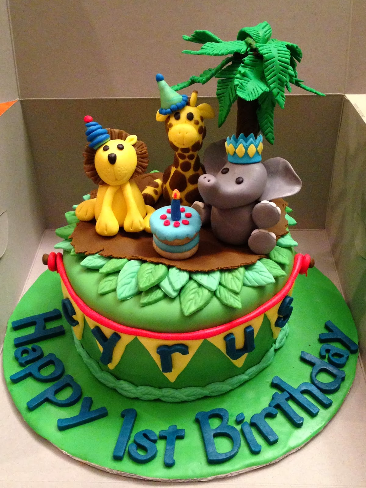 Baby Animals For Cyrus First Birthday Cake
