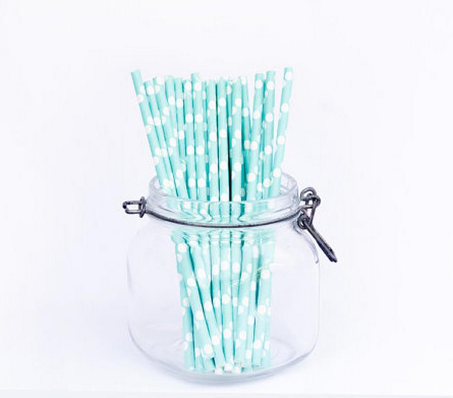 Mint polkadot paper straws