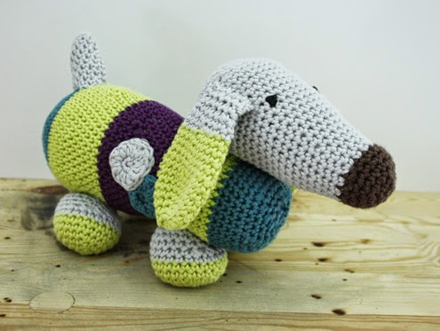 Crochet Dachshund - Happy in Red