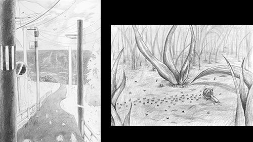 横浜美術学院の中学生教室 美術クラブ テーマ「風景」02