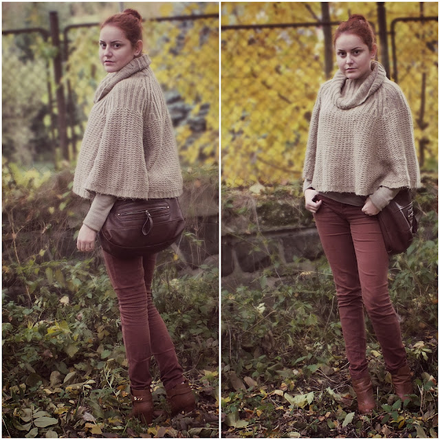 brown outfit, brown trousers, brown sweatshirt, red head, poncho, Andrea Bone