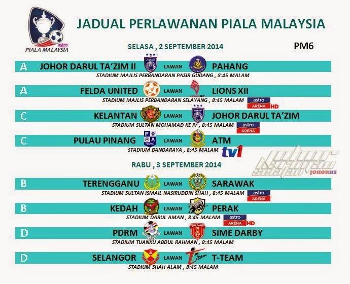Jadual Siaran Langsung Piala Malaysia 2 September 2014 Selasa