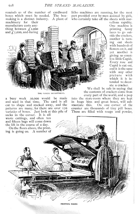 Christmas cracker production - parcel dept and printing masks - Strand Magazine  - Published December 1891