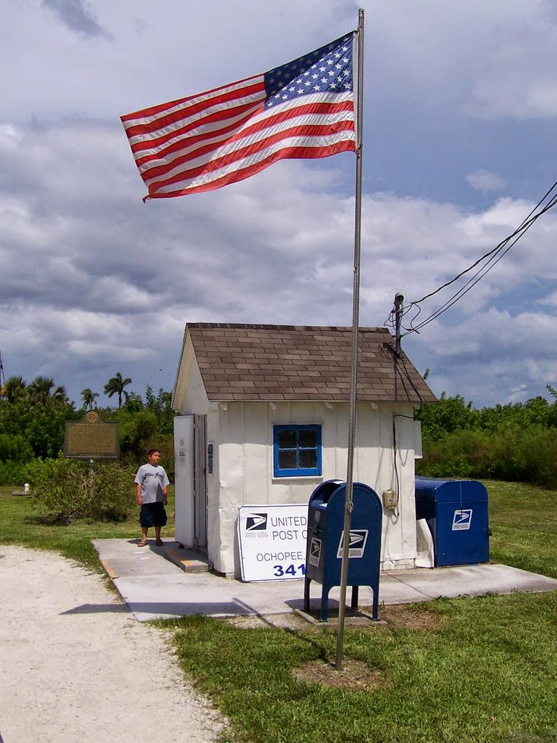 The 8-foot-by-7-foot tool shed on the edge of the Everglades National Park in Ochopee, Florida. In an era where hundreds of post offices have been closed to save money, this post office survives on more than cuteness.