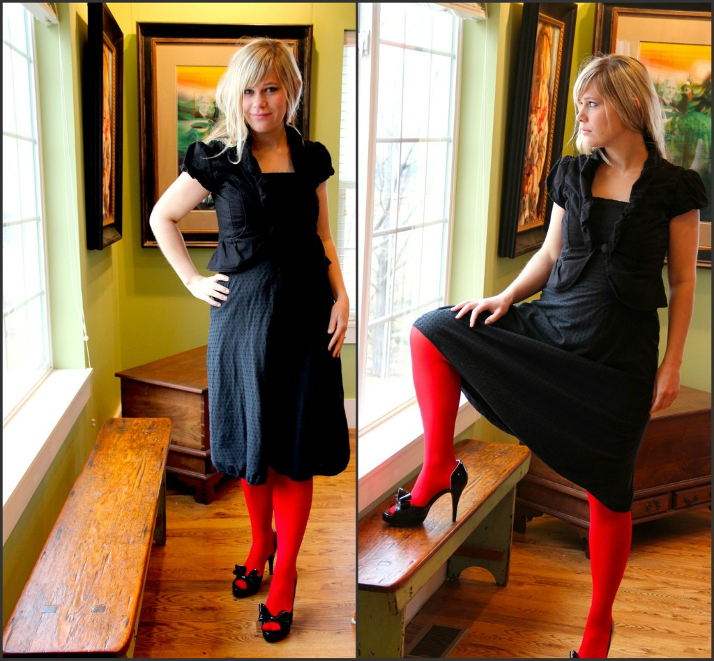 Red dress red shoes black tights with dress