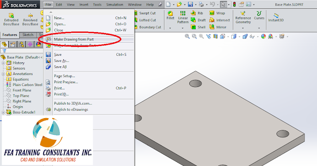 MAKE SOLIDWORKS DRAWING FROM PART
