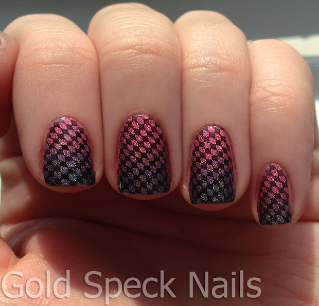 gold speck nails teal pink