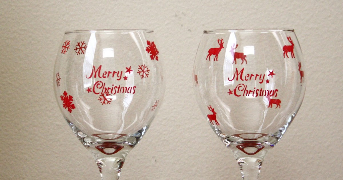 Desperate craftwives stenciled christmas wine glasses for Holiday stemware