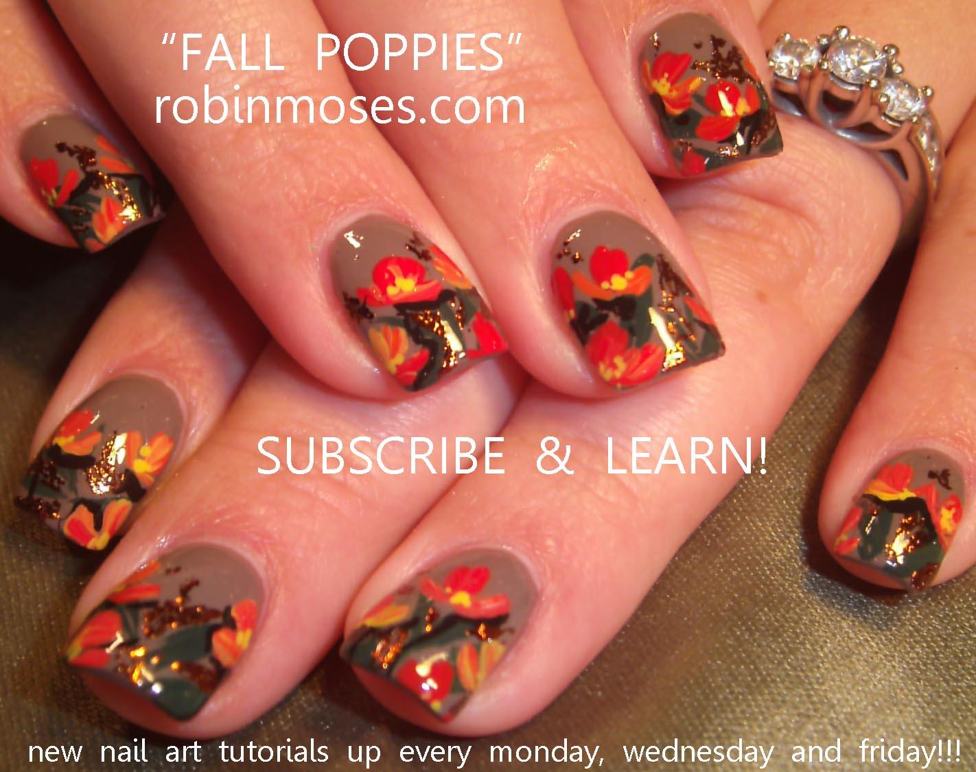 fall nail, autumn nail, retro fall nail, geometic nail, fall floral ...