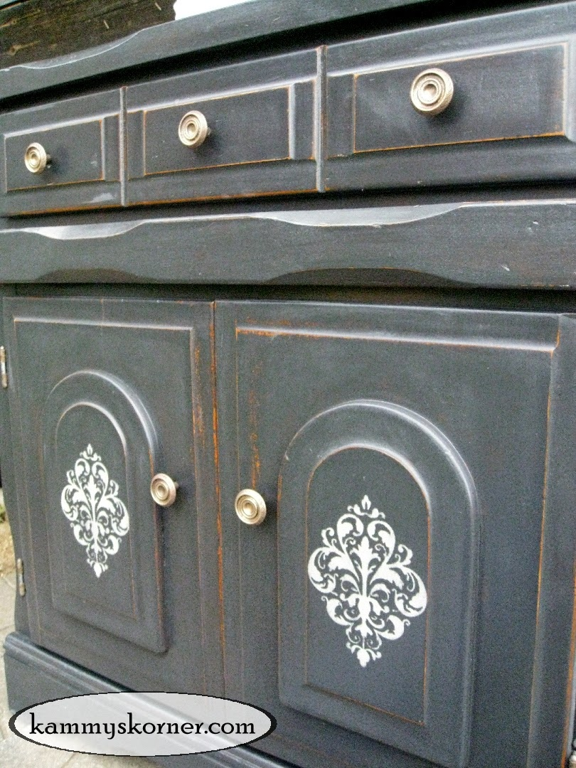 Kammys korner charcoal black cabinet distressed chalk paint how to
