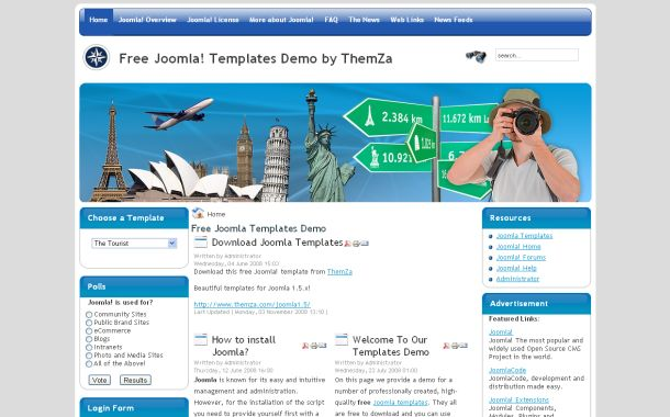 Free Blue White Trips Travel Joomla Theme Template