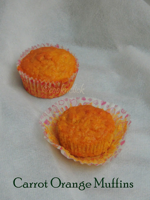 Eggless Carrot orange muffins