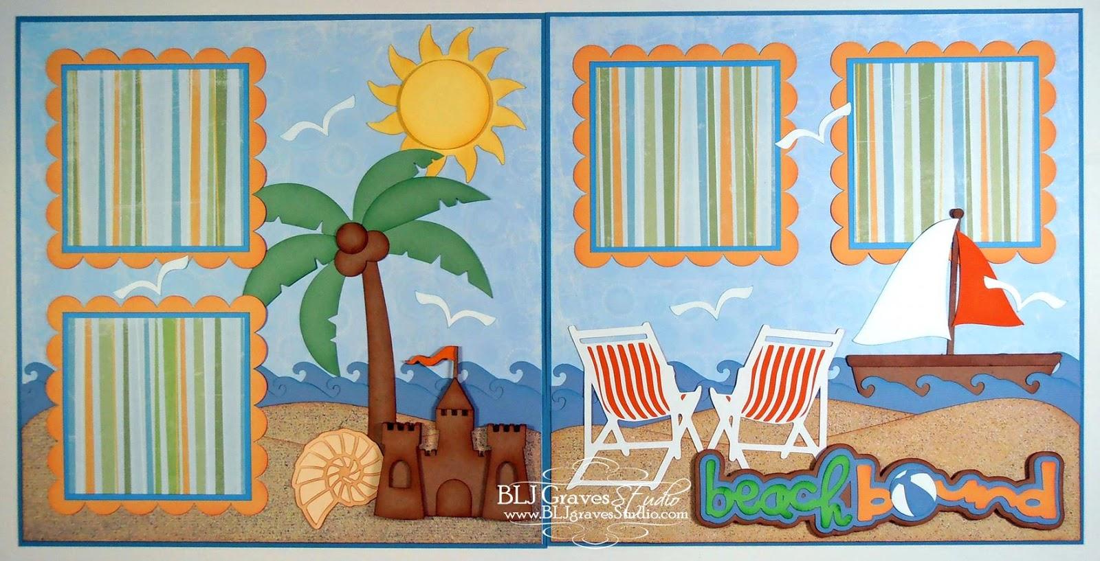 Blj Graves Studio Beach Bound Vacation Summer Scrapbook Page