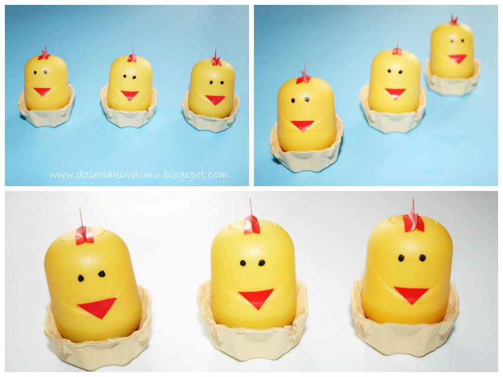 Kurczaczki z pojemniczków po Kinder Niespodziankach - wielkanocna dekoracja i gra dla dzieci